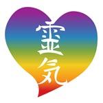Rainbow Heart Reiki Kanji
